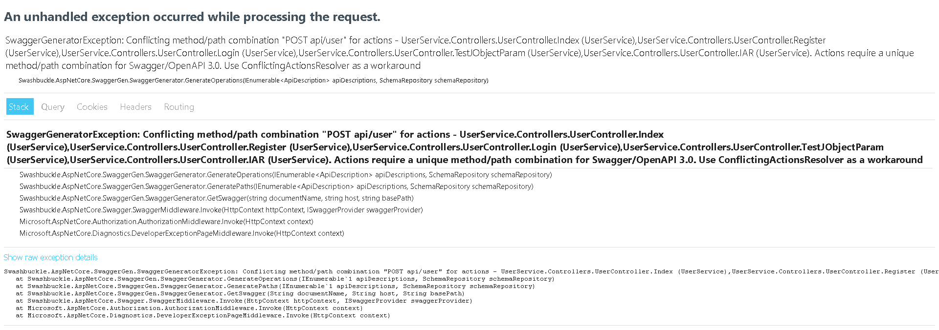 Actions require a unique method/path combination for Swagger/OpenAPI 3.0. Use ConflictingActionsResolver as a workaround